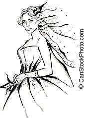 moda, linha arte, ilustração