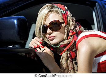 moda, loiro, mulher