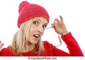 moda, loiro, mulher, com, sweater vermelho
