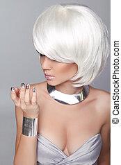 moda, loura, girl., beleza, retrato, woman., branca, shortinho, hair., isolado, ligado, cinzento, experiência., rosto, close-up., hairstyle., fringe., voga, style.