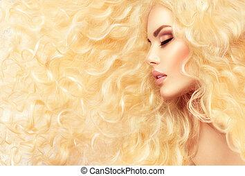 moda, loura, menina, com, saudável, longo, cabelo ondulado