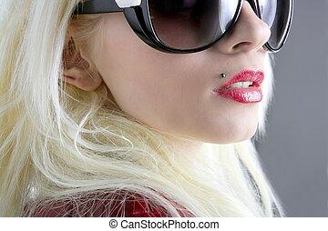 moda, macro, lábios, closeup, loura, retrato, sorrizo, menina, vermelho
