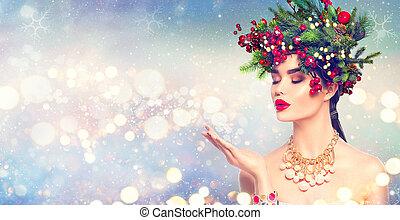 moda, magia, inverno, lei, neve, mano, soffiando, ragazza, natale