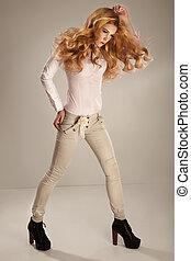 moda, magnífico, jovem, woman., foto estúdio
