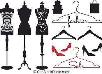 moda, maniquíes, vector, conjunto