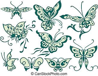 moda, mariposa, diseño