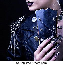moda, mecedora, estilo, modelo, niña, portrait., hairstyle., punk, mujer, maquillaje, peinado, y, negro, nails., ahumado, ojos