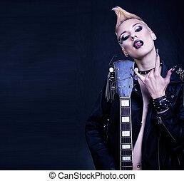 moda, mecedora, estilo, modelo, niña, portrait., hairstyle.punk, mujer, maquillaje, peinado, y, negro, nails., ahumado, ojos