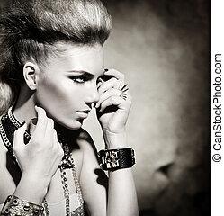moda, mecedora, estilo, modelo, niña, portrait., negro y blanco