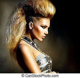 moda, mecedora, estilo, modelo, niña, portrait., peinado