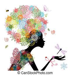 moda, menina, com, cabelo, arabesco