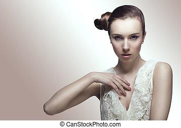moda, menina, com, crestive, hair-style