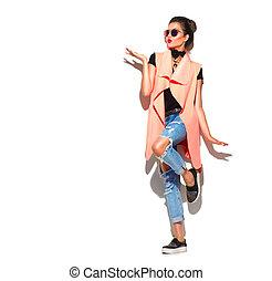 moda, menina, isolado, comprimento, cheio, fundo, retrato, branca, modelo