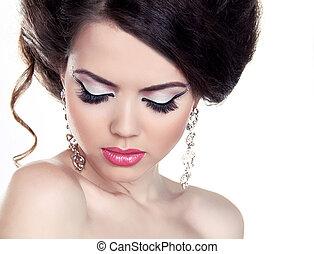 moda, menina, portrait., sombra, makeup., hairstyle., isolado, branco, experiência.