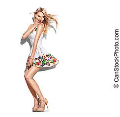 moda, menina, vestido, shortinho, comprimento, cheio, retrato, vestido branco, modelo, surpreendido