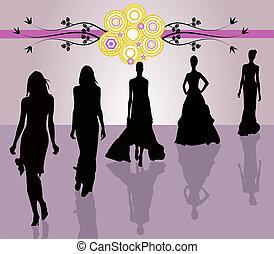 moda, meninas, -, doente