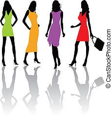 moda, meninas, illustratio