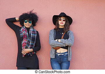 moda, meninas, ligado, rua