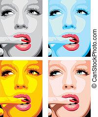 moda, meninas, rosto, em, diferente, cores