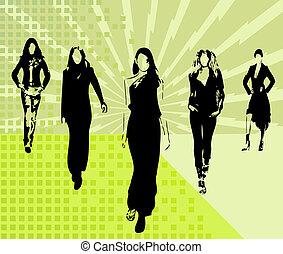 moda, meninas, silhuetas