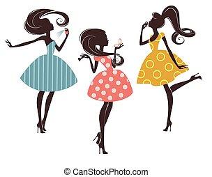 moda, meninas, três