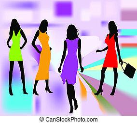 moda, meninas, vetorial