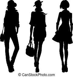 moda, meninas, vetorial, topo, modelos, silueta
