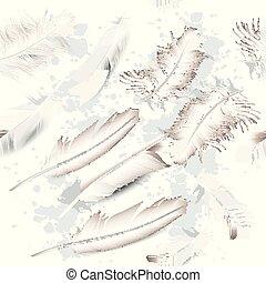 moda, modello, realistico, vettore, feathers.eps, bianco