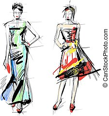 moda, models., sketch.