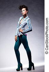 moda, moderno, dama, en, elegante, postura, -, belleza, moderno, estilo