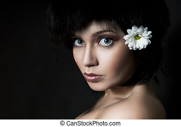moda, morena, menina, com, flor, ligado, pretas