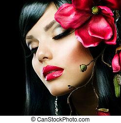 moda, morena, menina, com, magnólia, flor, isolado, ligado, pretas