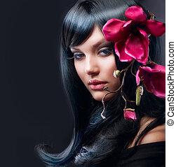 moda, morena, niña, con, magnolia, flor