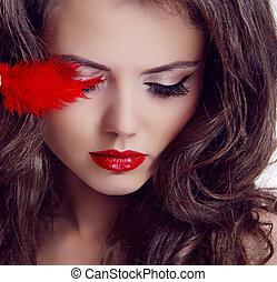 moda, mujer, belleza, portrait., labios rojos