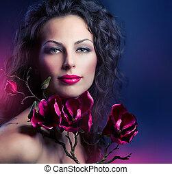 moda, mujer, con, magnolia, flores del resorte