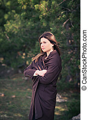 moda, mujer joven, al aire libre, retrato