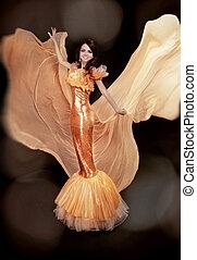 moda, mujer, modelo, en, lujo, dress., rendimiento