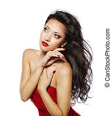 moda, mujer, pelo negro, modelo, niña, cara, maquillaje, retrato, blanco rojo