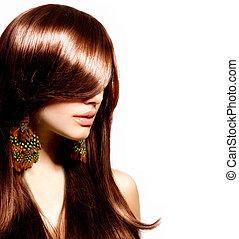 moda, mujer, portrait., elegante, model., belleza, maquillaje
