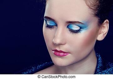 moda, mujer, portrait., eyeshadow, cicatrizarse, componer