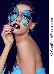 moda, mujer, portrait., mariposa, maquillaje, cara, arte,...