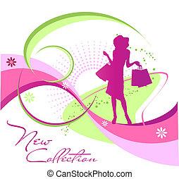 moda, mujer, silueta