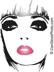 moda, mulher, arte pnf, cartaz
