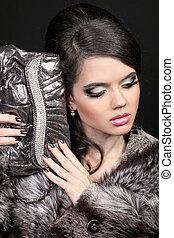 moda, mulher bonita, com, bolsa