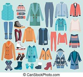 moda, mulher, cobrança, inverno, wardrobe.