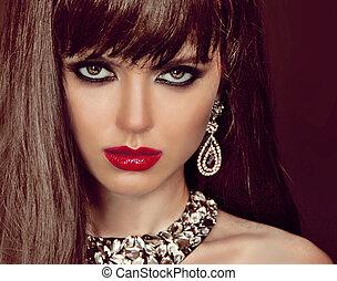 moda, mulher, com, cabelo marrom, e, noite, make-up., jóia,...