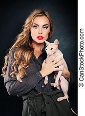 moda, mulher, com, gato