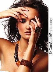 moda, mulher, com, jóia, branco, fundo