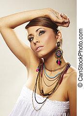 moda, mulher, com, jóia