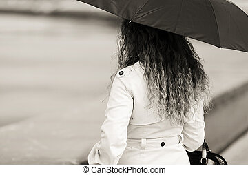 moda, mulher guarda-chuva, chuva